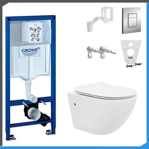 Elementy Zestawu Zestaw Podtynkowy Do Wc Grohe Rapid Sl 5w1 Miska Wc Rea Carlo Mini Rimless Grohe Sink Toilet
