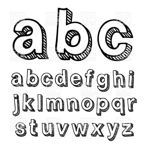 Simple Hand Drawn Font Alphabet Vector Image 29907 RFclipart