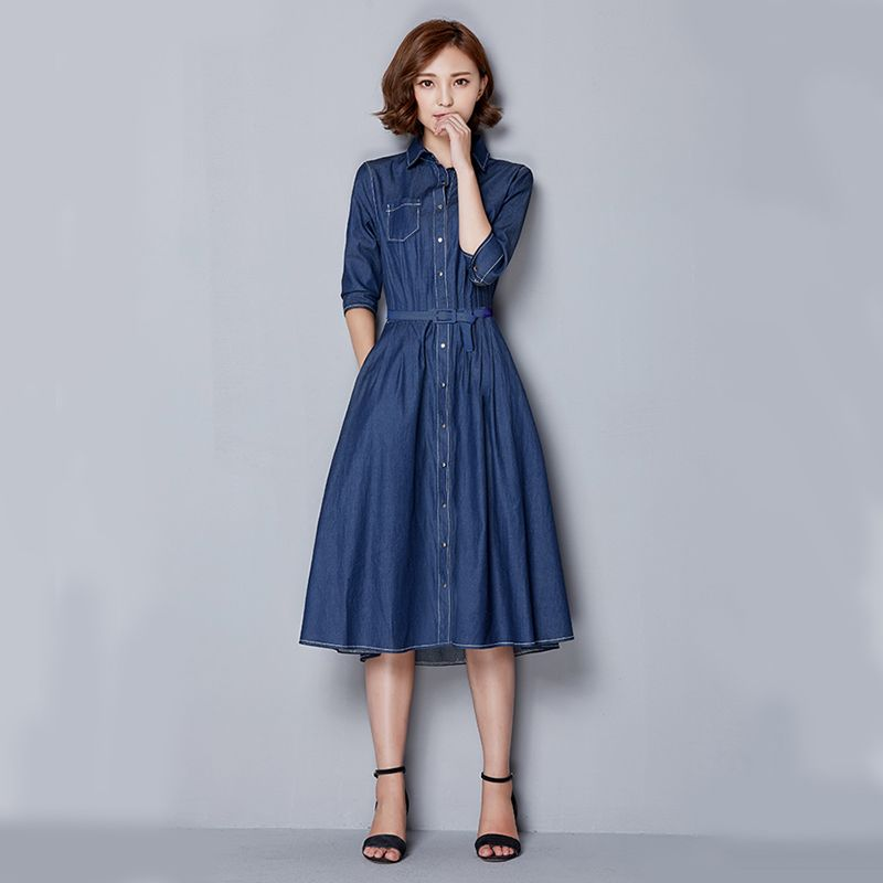 ba4d1ec81cb Korean Casual Jeans Dress 2015 Ladies Elegant Long Vestido Fifth Sleeve Blue  Jean Dresses for Women