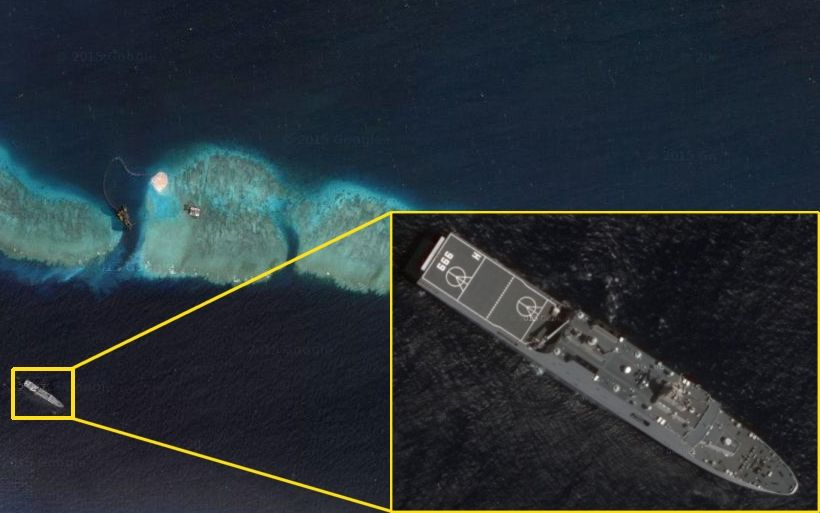 The most recent satellite images provided by Google Maps show a PLA warship docked at Mischief Reef in the disputed Spratly islands in the South China Sea, according to the website of China's Global Times.  The boat's pennant number is 999, suggesting it is the Jinggang Shan, an Yuzhao-class Type 071 amphibious transport dock.