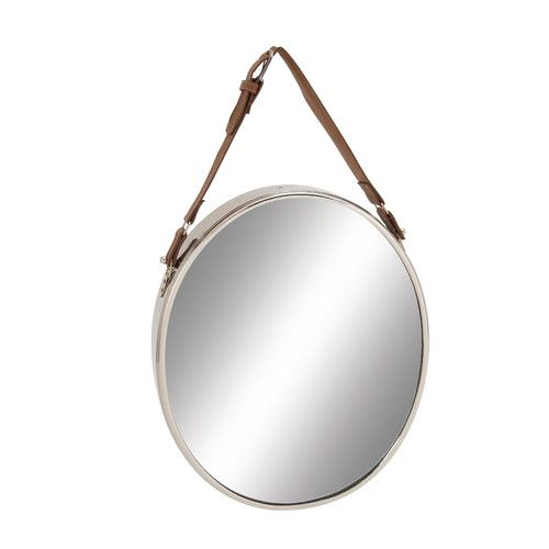 Found it at Wayfair - Stainless Steel Leather Wall Mirror