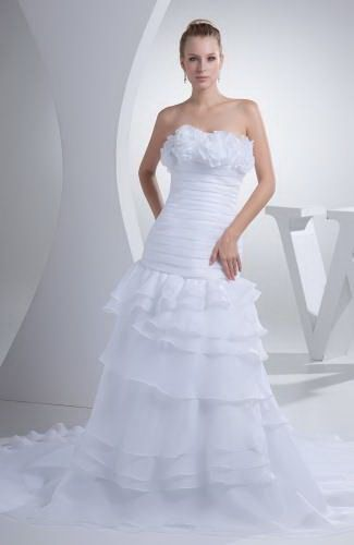 Strapless Organza Wedding Gowns - Order Link: http://www.thebridalgowns.com/strapless-organza-wedding-gowns-tbg2124 - SILHOUETTE: A-Line; SLEEVE: Sleeveless; LENGTH: Court Train; FABRIC: Organza; EMBELLISHMENTS: Tiered , Flower , Ruching - Price: 287.99USD