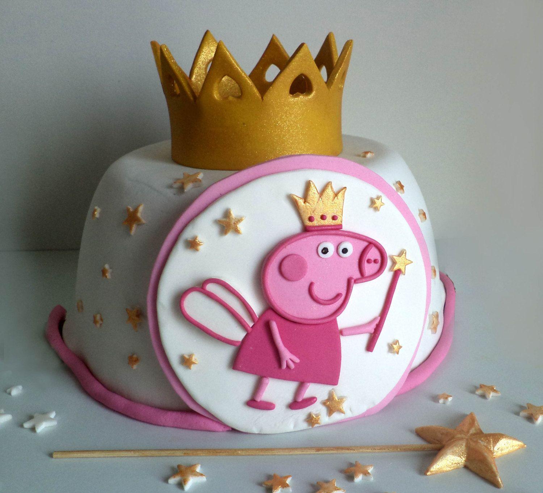 Peppa Pig Fairy Princess Fondant Cake Topper With Gold