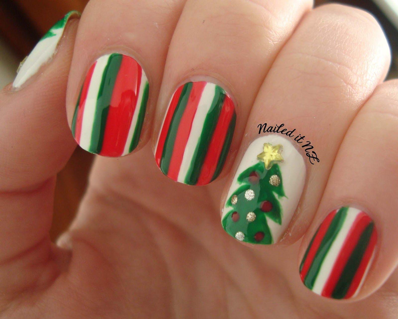 holliday nail design Christmas   Nail art for short nails #4 ...