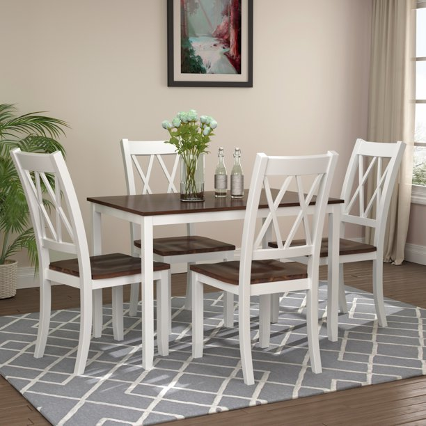 5 Piece Dining Table Set Modern Wooden Kitchen Table And Chairs With Solid Wood Legs Dining Table With Chairs For Dining Room Restaurant Coffee Shop Small In 2021 Kitchen Table