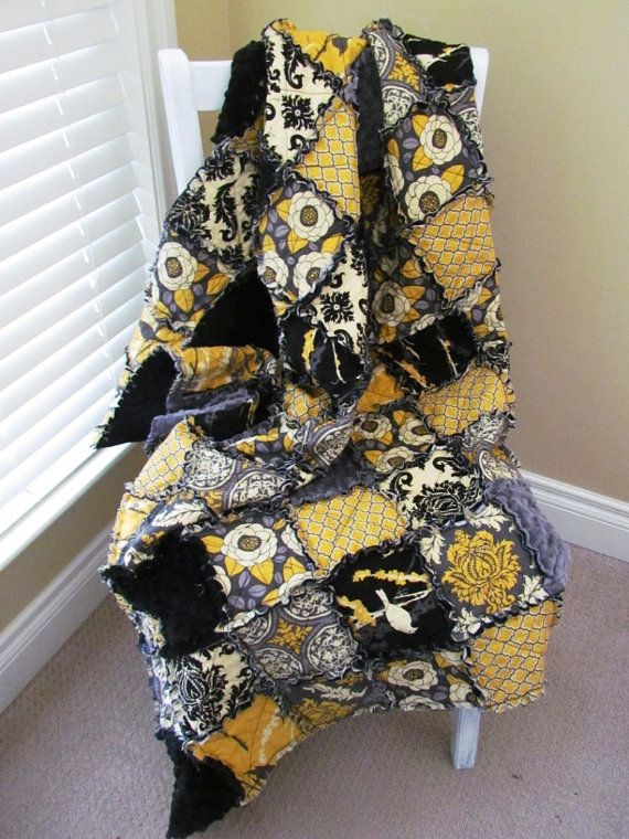 Rag Quilt Throw Aviary Rag Quilt by PuddleJumpDesigns on Etsy, $120.00