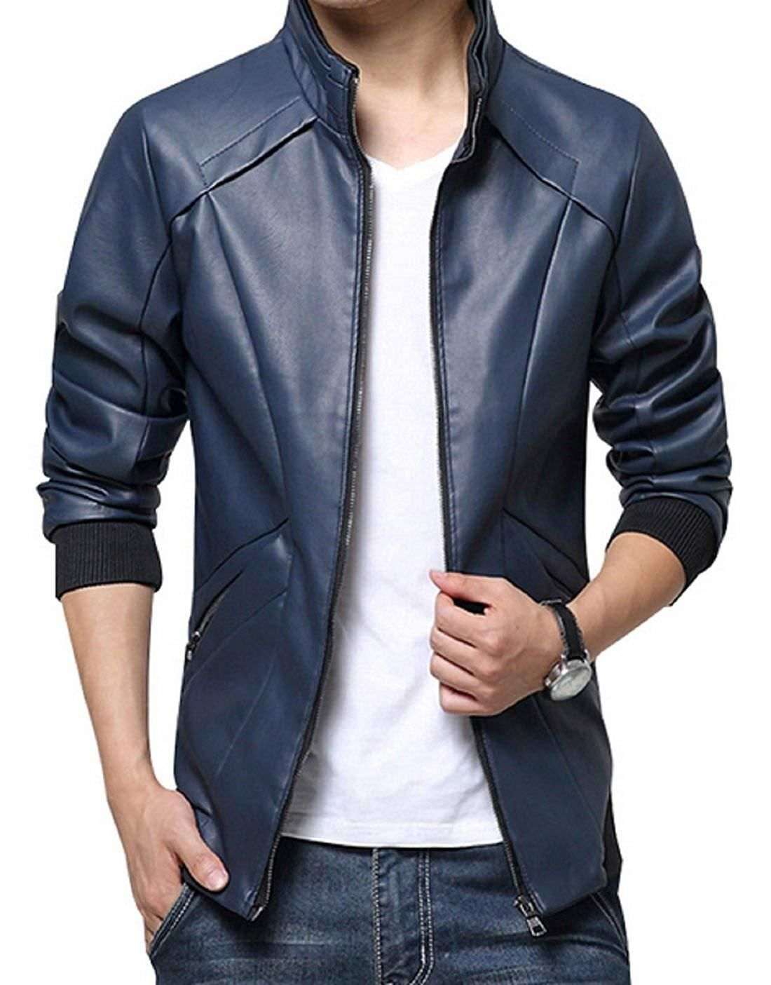 b9cc73e0c7b Men s Leather Jacket Stand Up Collar Slim Fit Outdoor Jacket –  Valentafashion