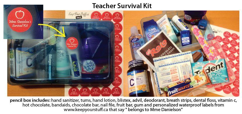 Teacher Survival Kit Pencil Box Includes Hand Sanitizer Tums
