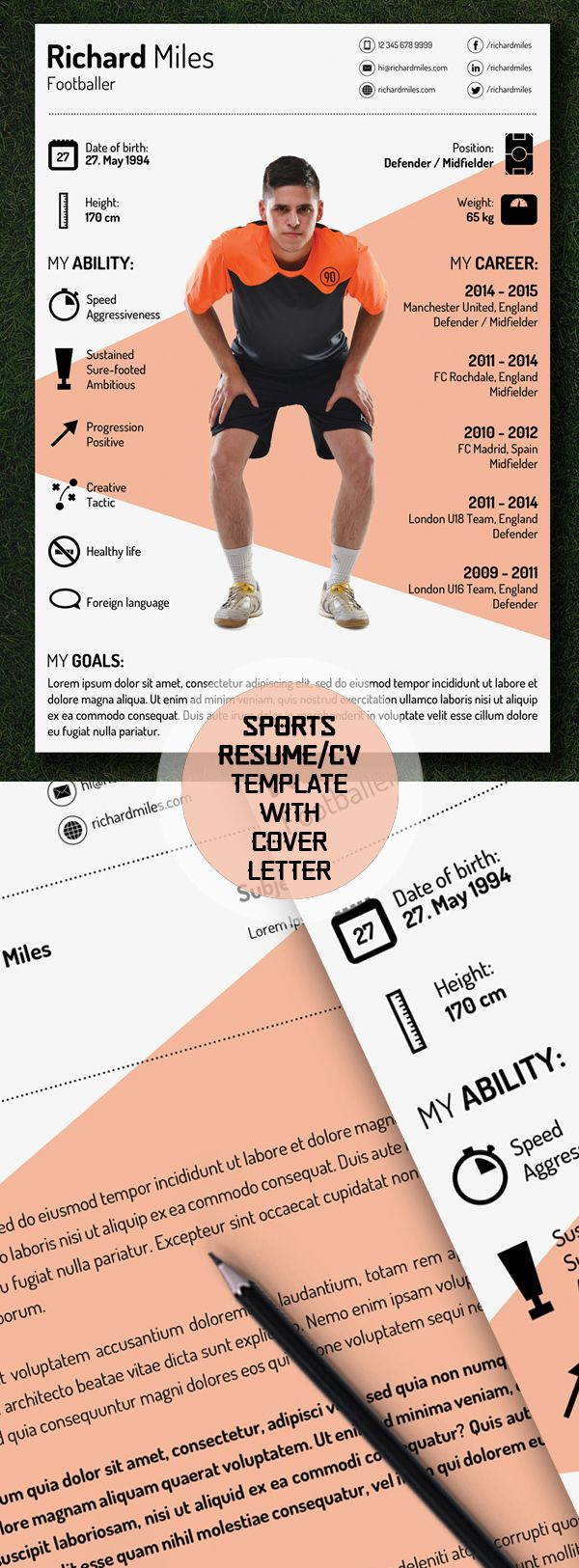 Free Sport Resume/CV Template #freebies #resumetemplate #psdresume  #cvresume #psdtemplate  Sports Resume Template