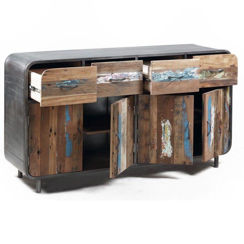 buffet industriel vintage 4 portes dko vintage pinterest buffet industriel industriel. Black Bedroom Furniture Sets. Home Design Ideas