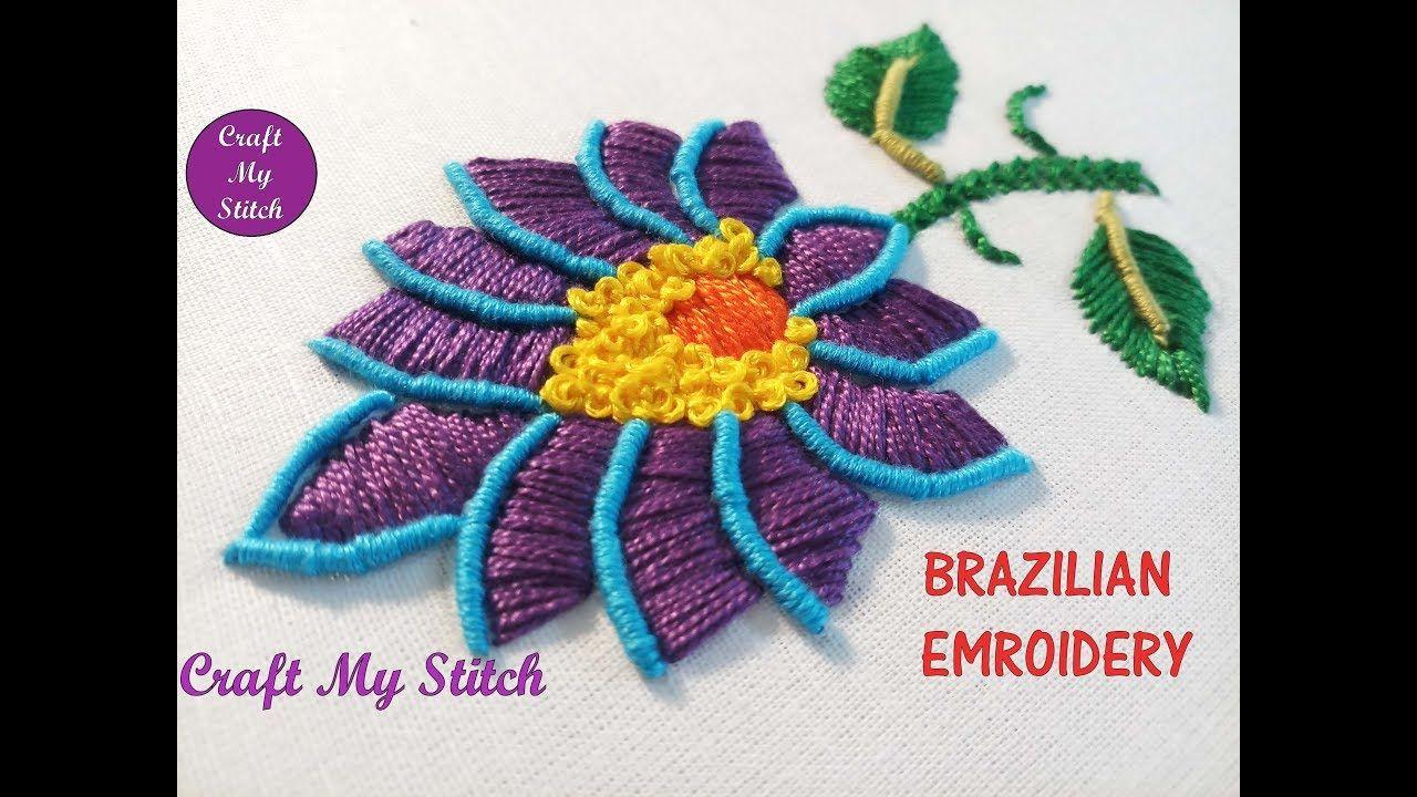 Hand embroidery brazilian embroidery flower bordado pinterest