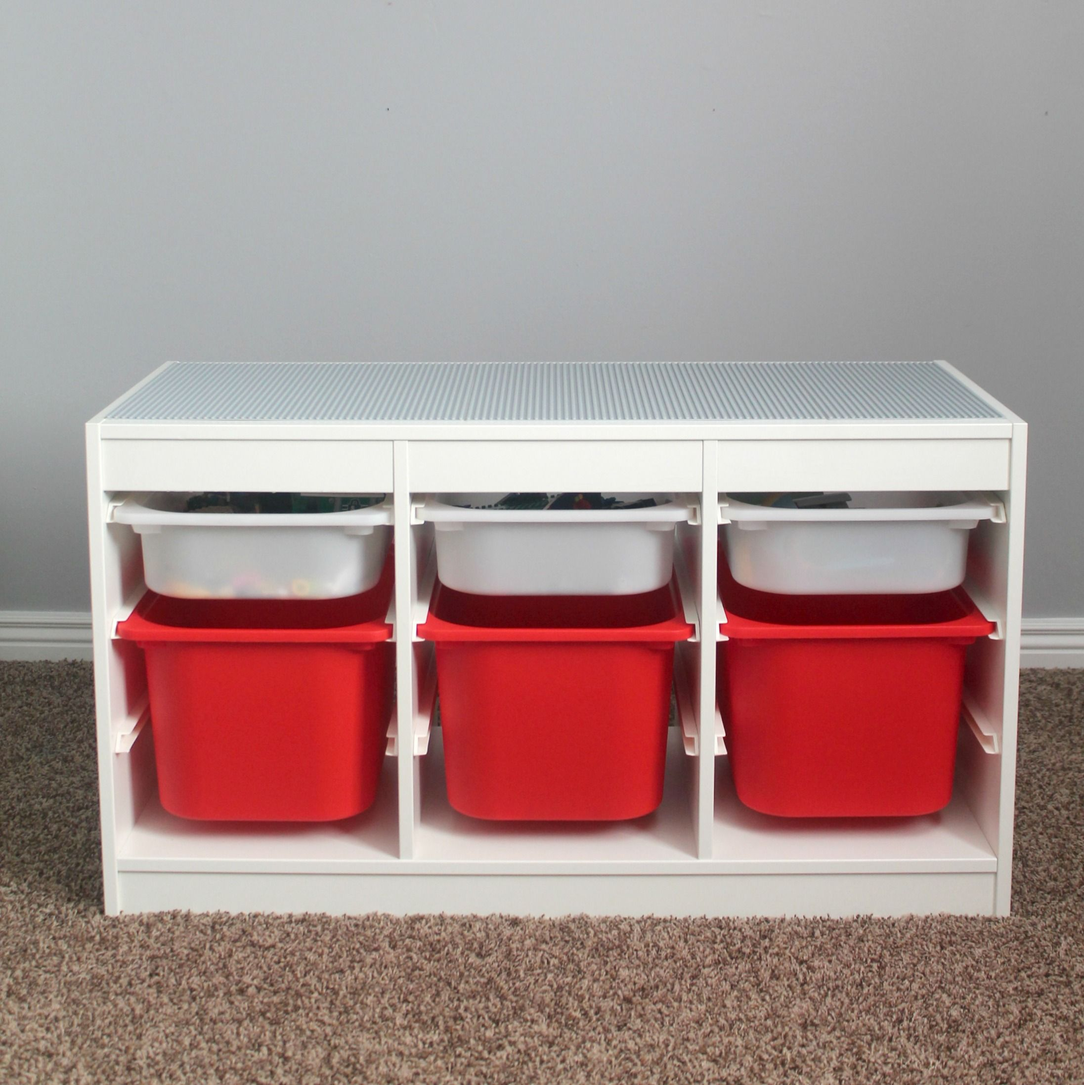 finished lego table with storage gift ideas pinterest rangement lego lego and rangement. Black Bedroom Furniture Sets. Home Design Ideas