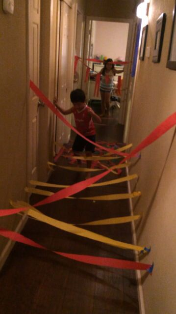 Party idea- streamer obstacle course done in hallway | Obstacle ...