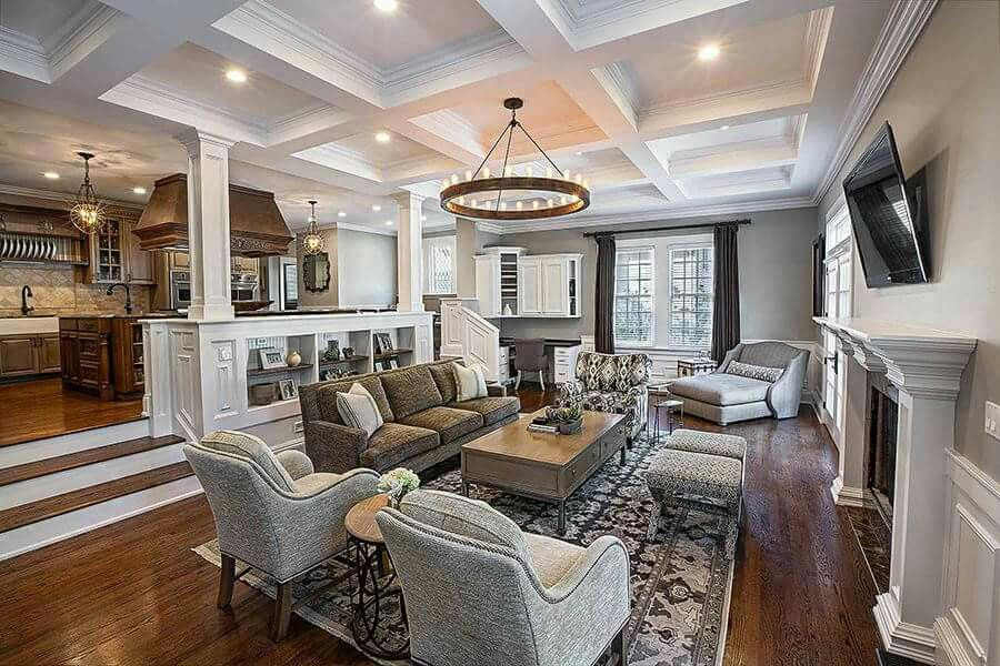 Like Configuration Of Furniture In Large Space Maybe Get Another Chair To Flank The Rug And Tw Sunken Living Room Family Room Design Living Room Design Modern