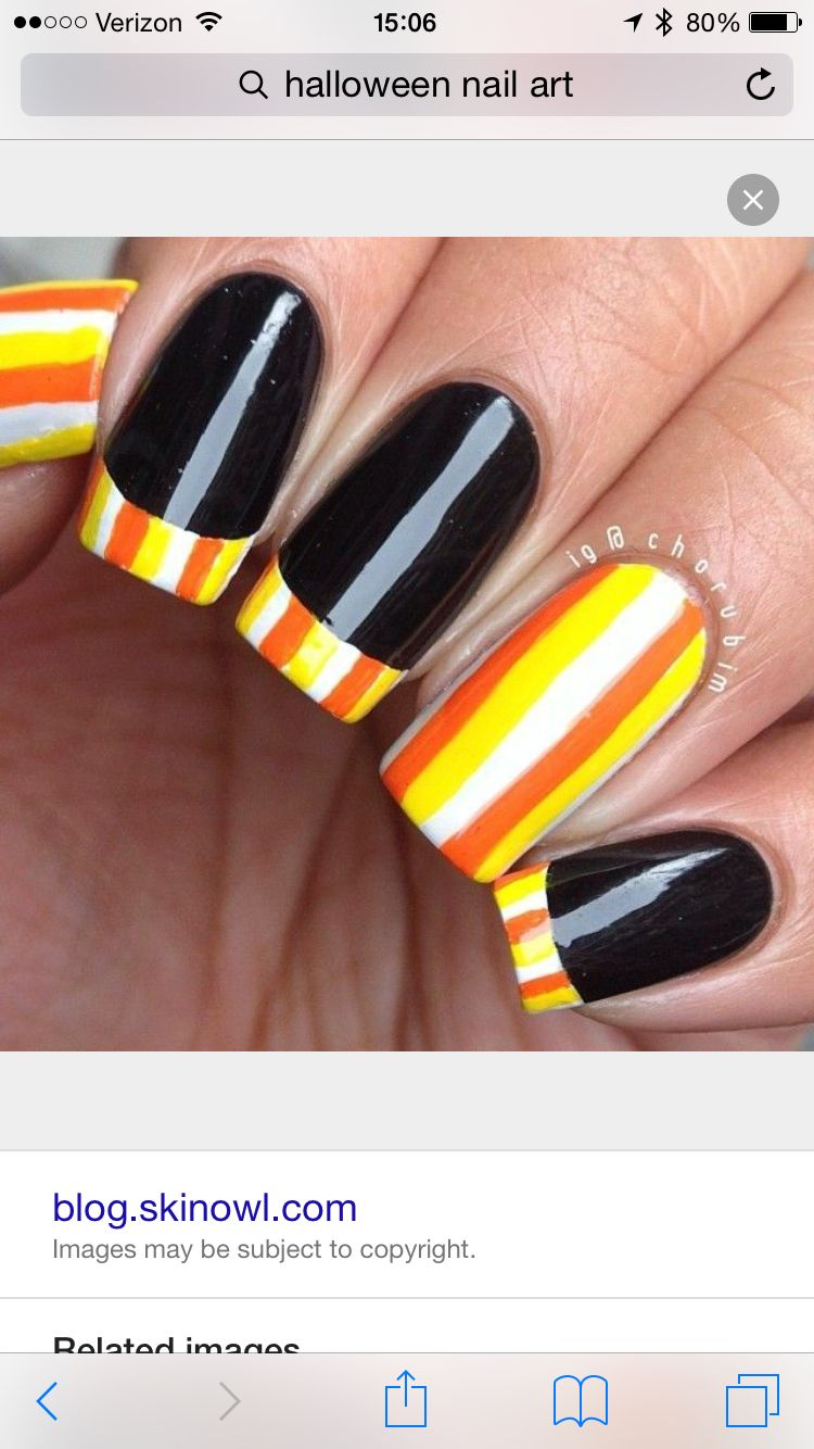 Candy Corn Nail Art Beauty Pinterest Candy Corn Nails