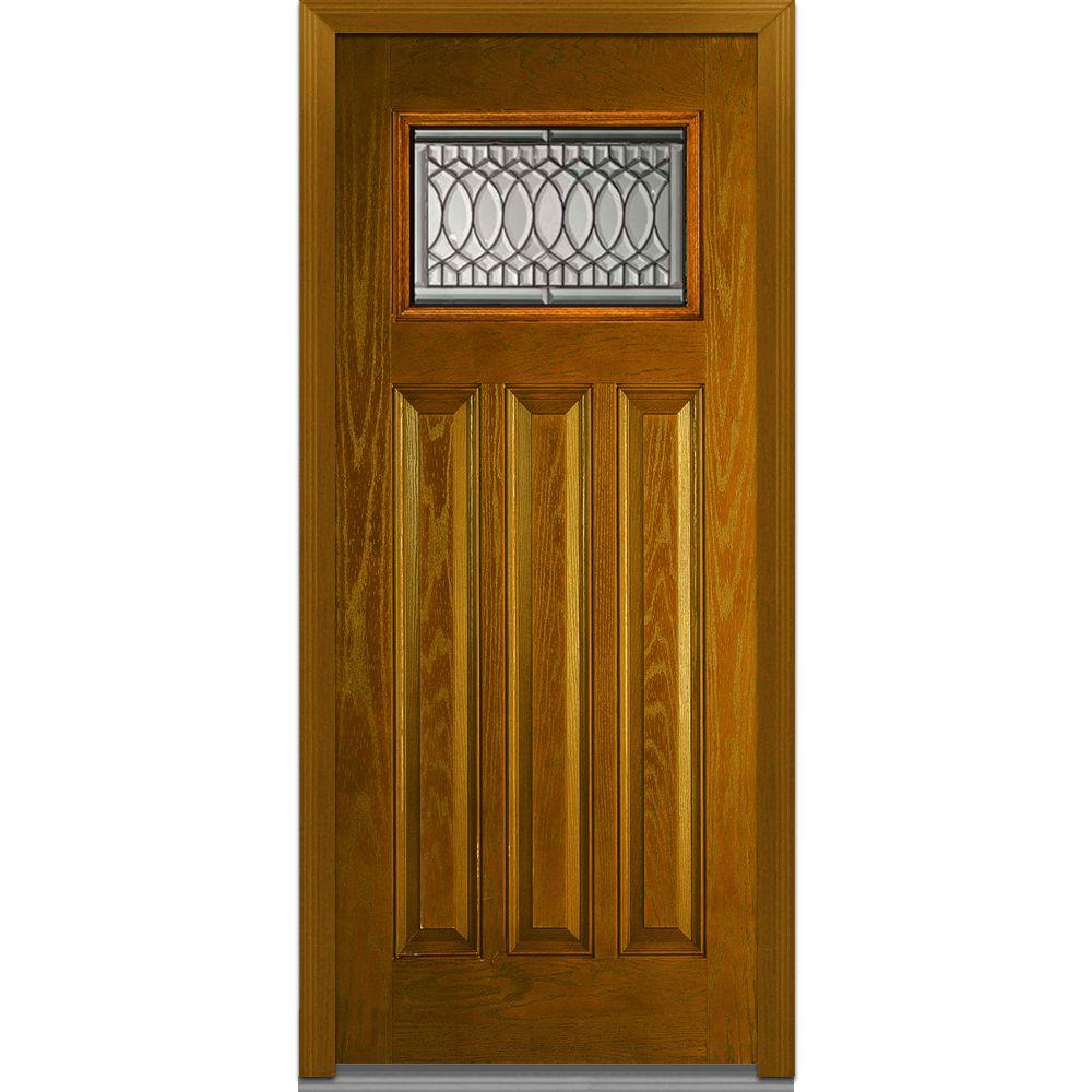 Milliken Millwork 36 In X 80 In Paris Right Hand 1 Lite Craftsman Decorative Midcentury Stained Fiberglass Oak Prehung Front Door Z022054r The Home Depot Fiberglass Entry Doors Glass Decor Front Door