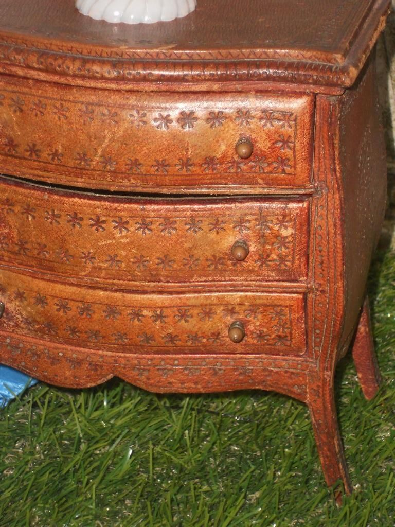 ~~~ Early French Fashion Doll Chest with Tooled Leather Cover ~~~ from whendreamscometrue on Ruby Lane