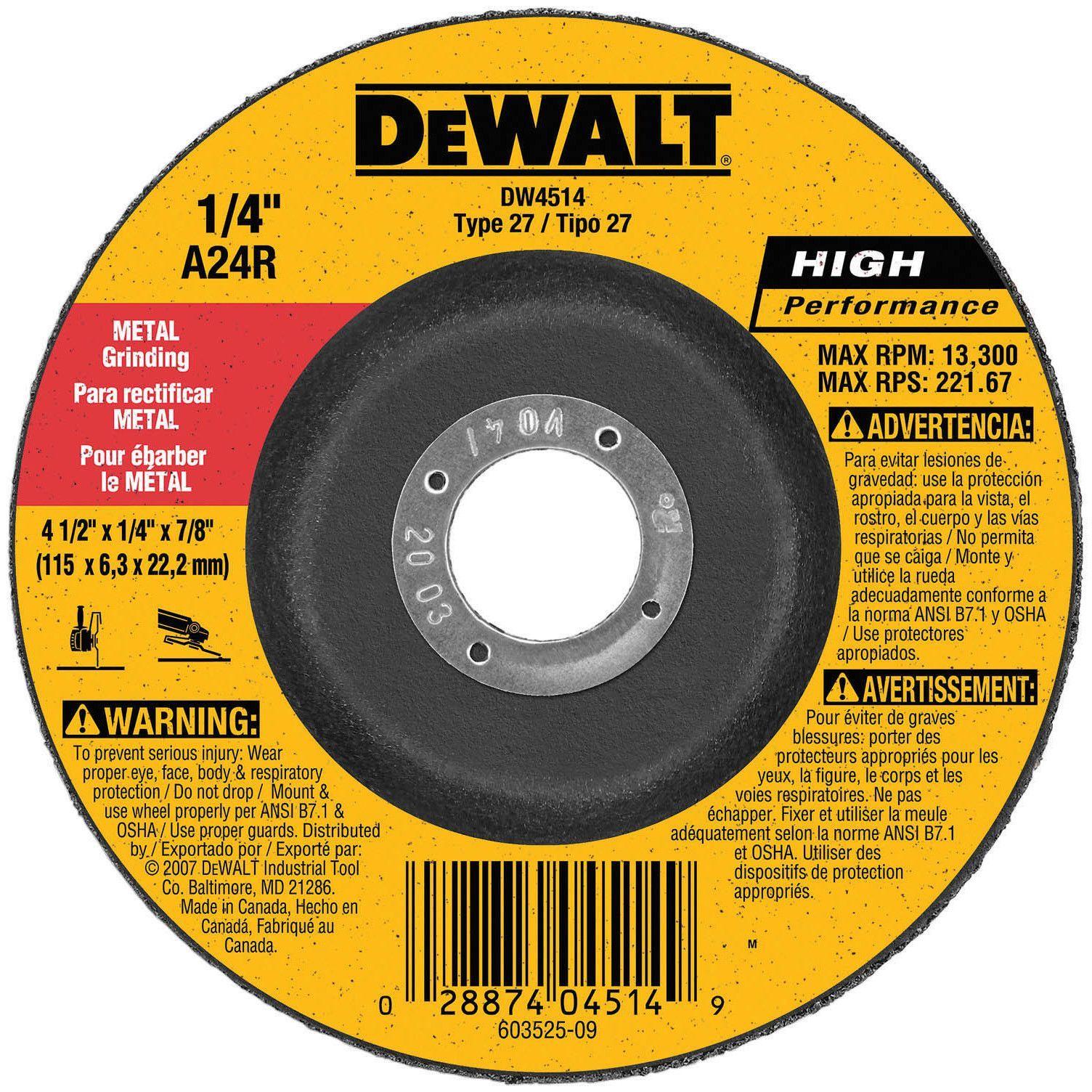 Stanley Dewalt DW4514 Fast Cut Depressed Center Grinding Wheel ...