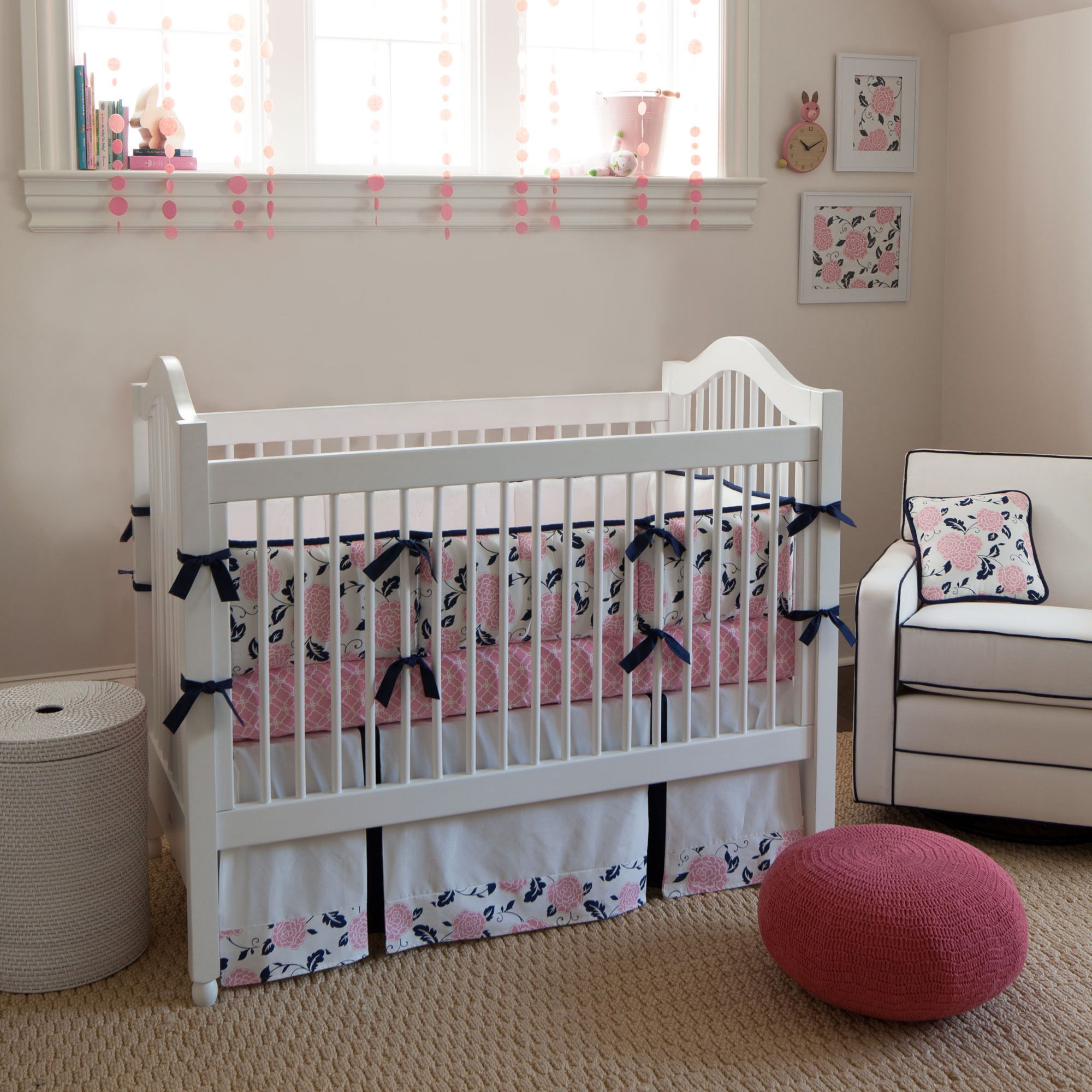 Coral and Navy Floral Baby Crib Bedding carouseldesigns
