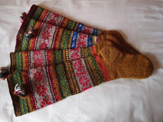 Garter stitch heels on some gorgeous fair isle socks.   Socks ...