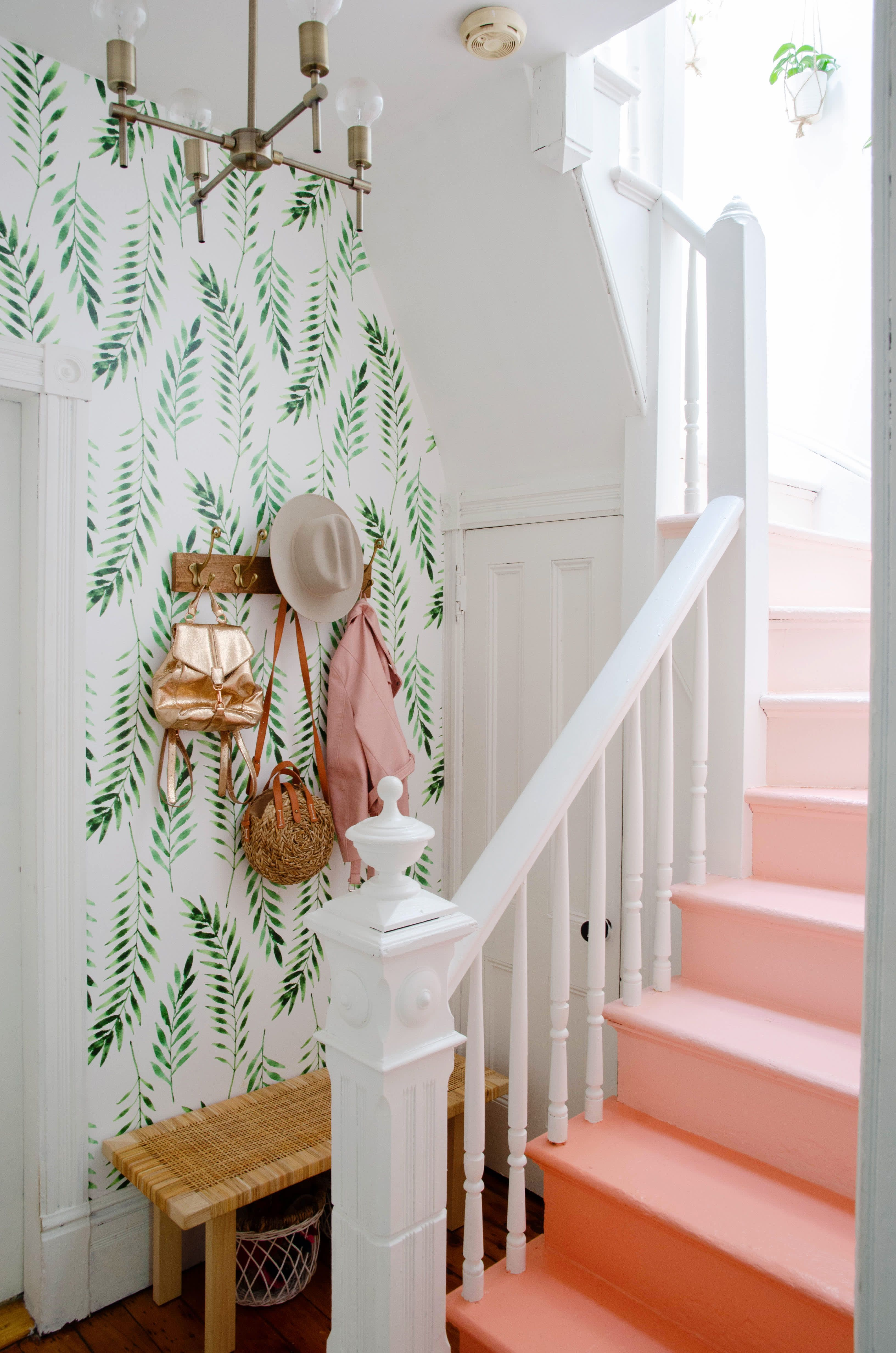 home decor 2018 #homedecor Natalie used four different Benjamin Moore colors to paint the staircase in this ombre pattern. The wallpaper is from Boho Walls.