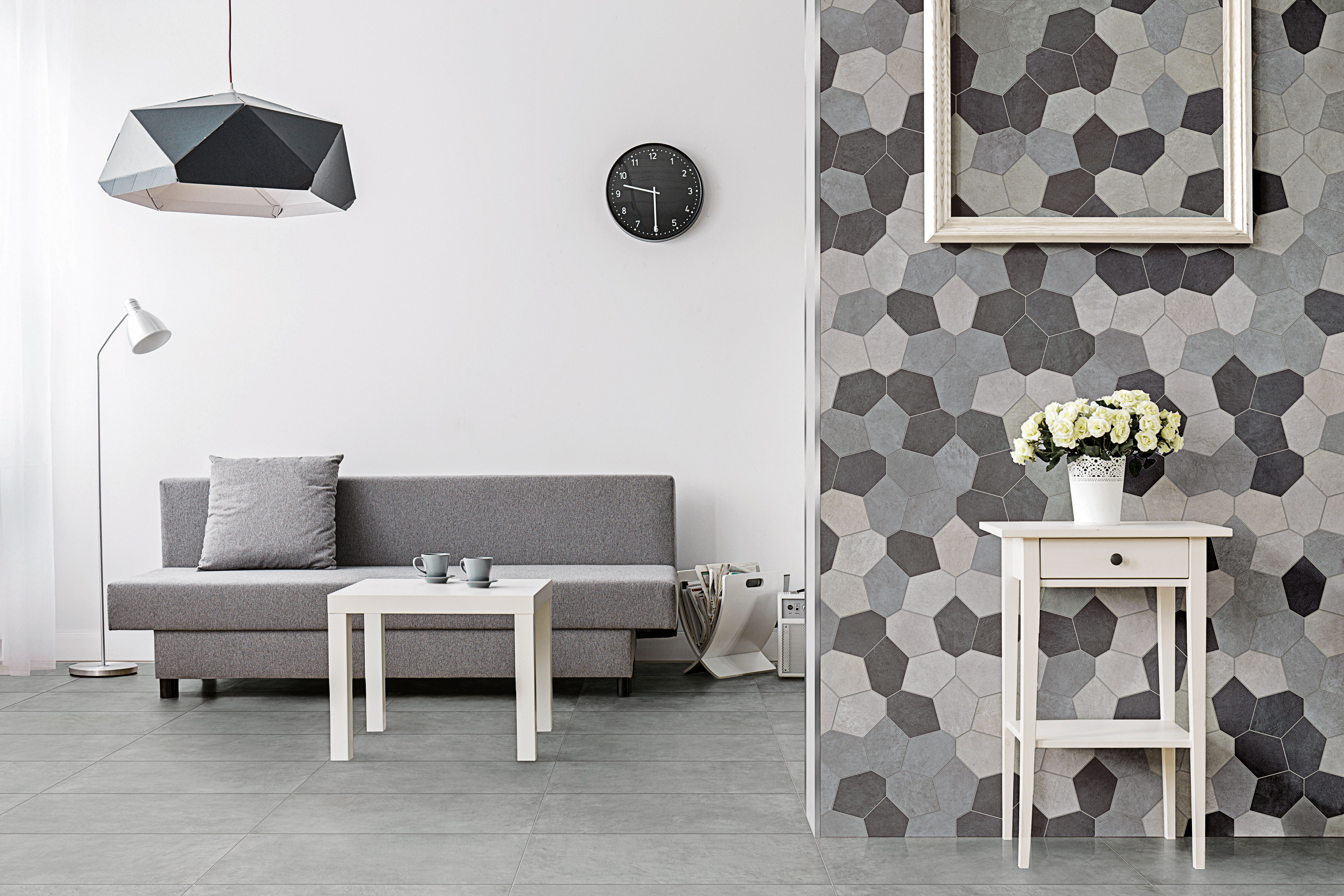 Feature Wall With Ny2la Mosaic From Florida Tile Wallpaper Trends Grey Floor Tiles Floor And Wall Tile