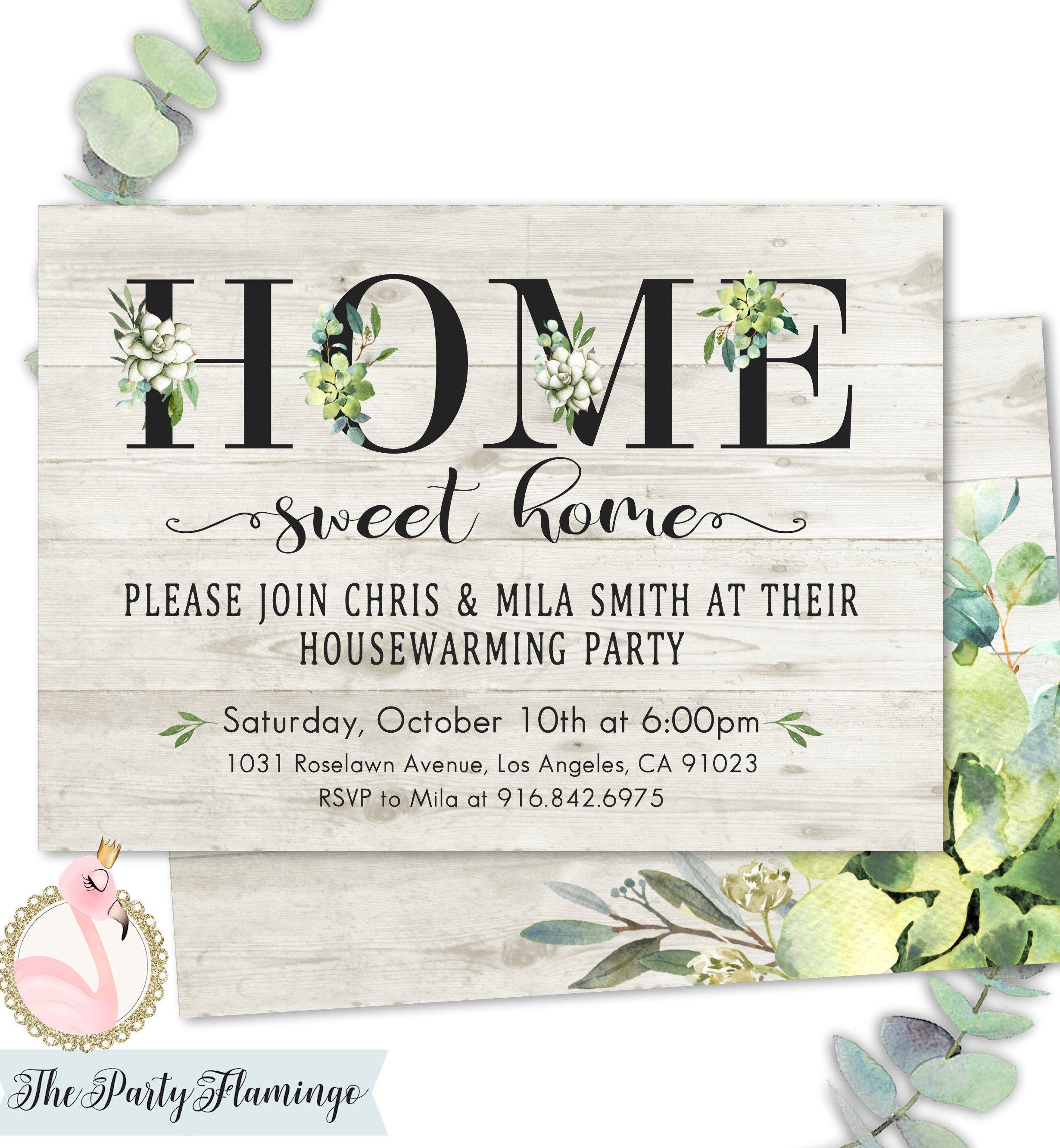 Housewarming invitation, rustic housewarming party