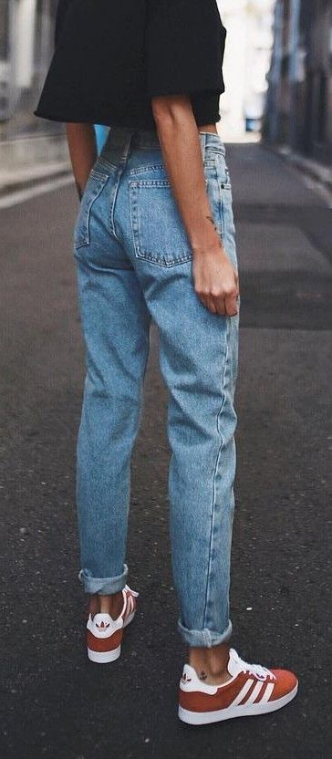 Vintage ladies boyfriend jeans for women mom high waisted jeans blue  casualmodkily Outfit With Boyfriend Jeans