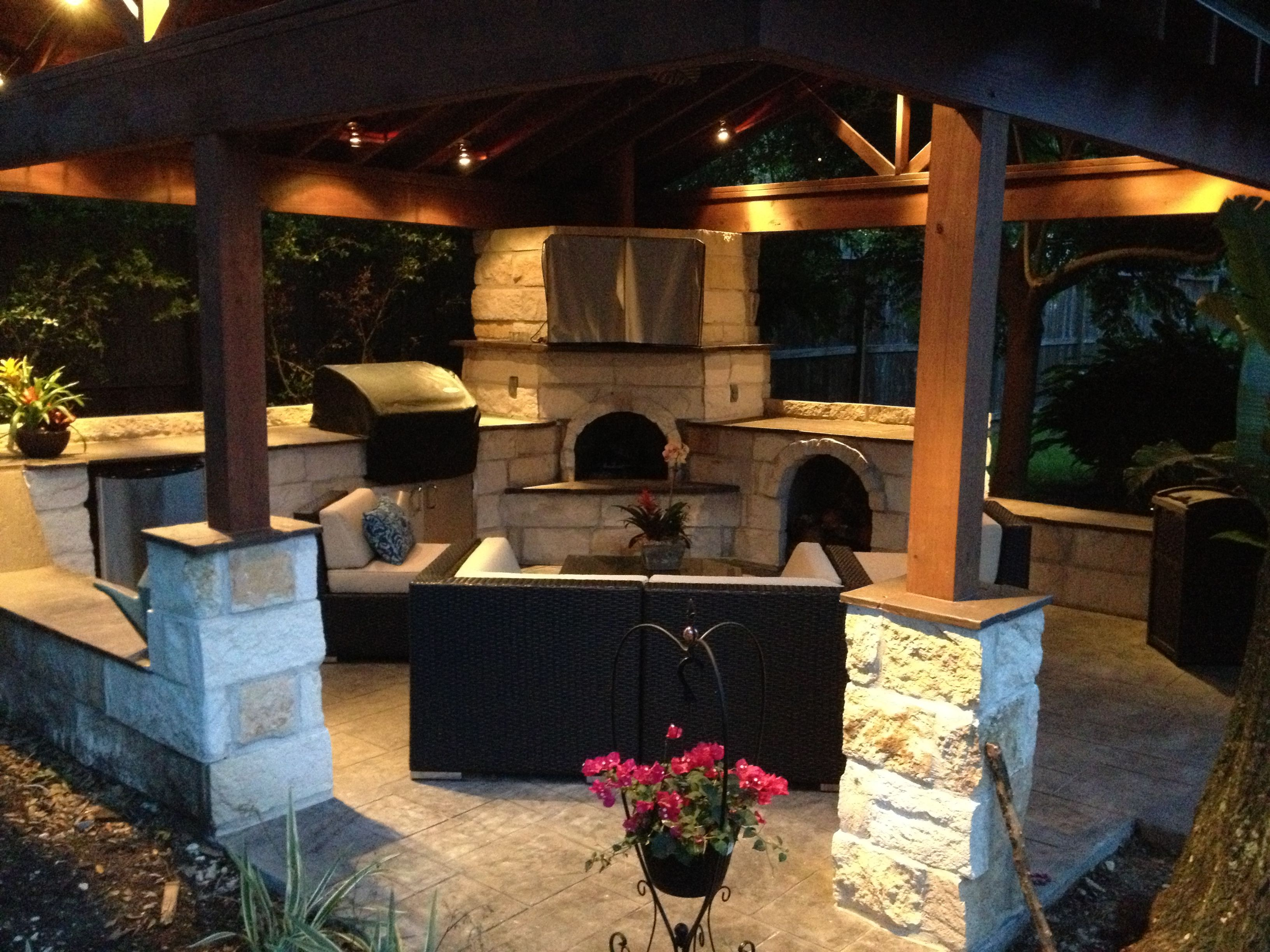 Complete Outdoor Kitchen Fireplace And Seating With Pergola And Led Lighting Outdoor Kitchen Outdoor Living Areas Patio