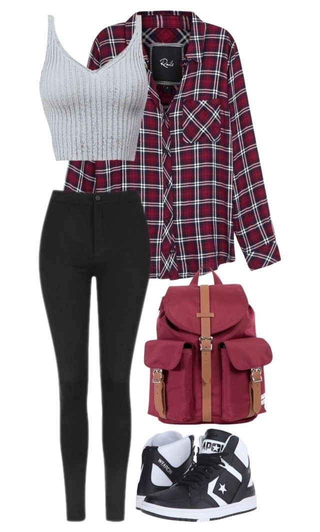 """Untitled #117"" by bandgeek01234x on Polyvore featuring Rails, Topshop, Converse and Herschel Supply Co."