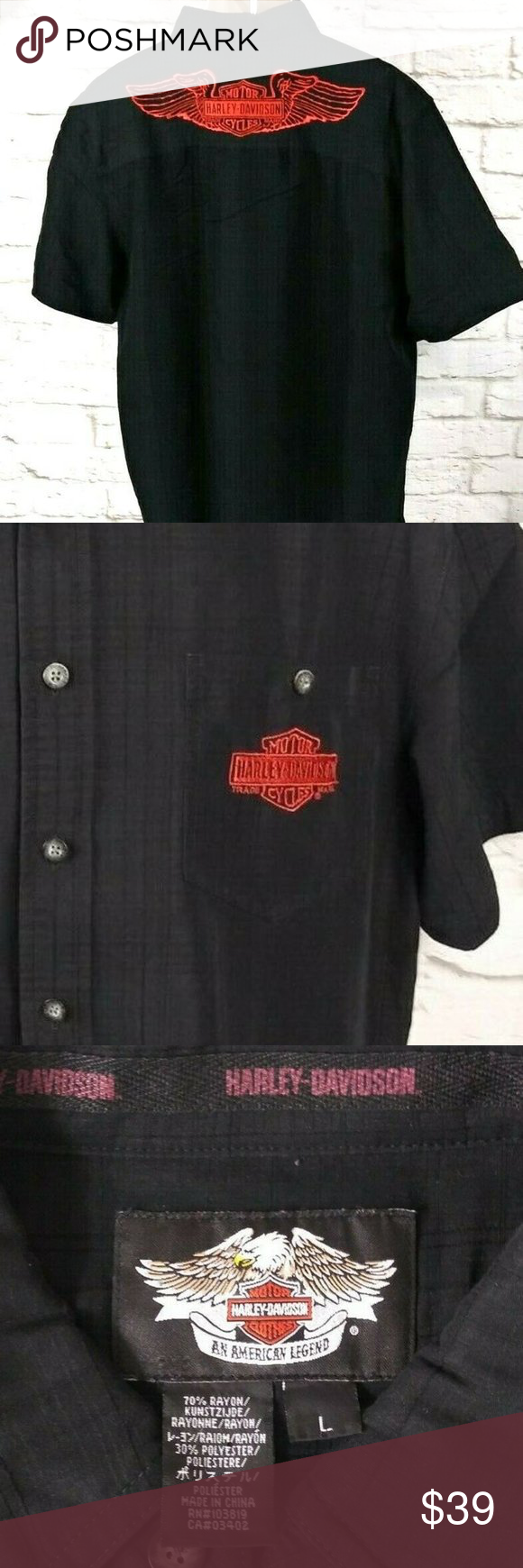 Harley Davidson Men's Shirt Large Harley Davidson Mens Black Shirt Large Embroidered Eagle Wings American Legend. Item is in great shape.                                                                    length from bottom of collar to hem: 30