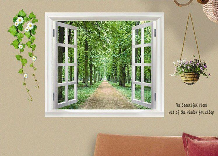 Avenue scenery outside fake window wall sticker wall Fake window for basement