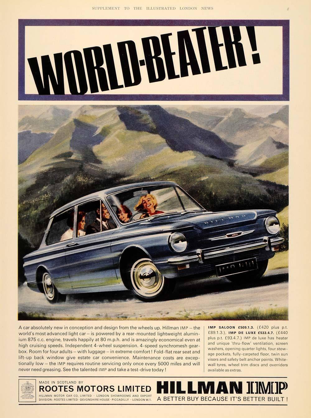 1964 Ad Hillman Imp Saloon Blue British Car Rootes Uk Original
