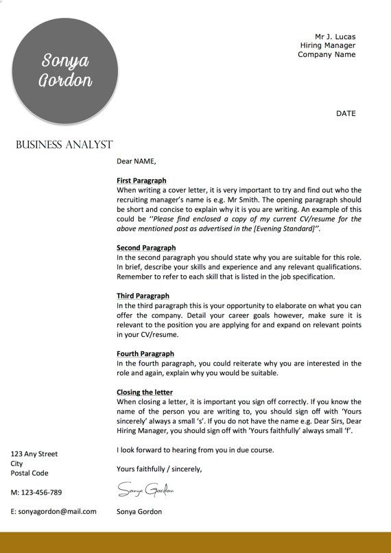 Professional Letterhead Template  Business  Cover Letter