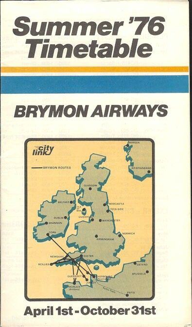 Brymon Airways system timetable 4/1/76 | Route maps | British ...