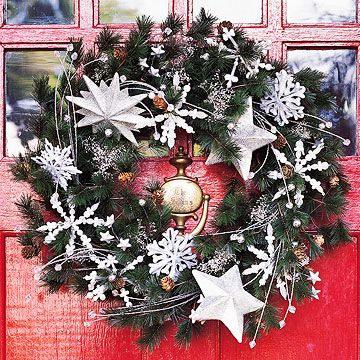 Snowflake Theme        ....silver snowflakes and star ornaments create a wonderland look for a green wreath. Floral sprays add additional interest and eliminate the need for a bow.