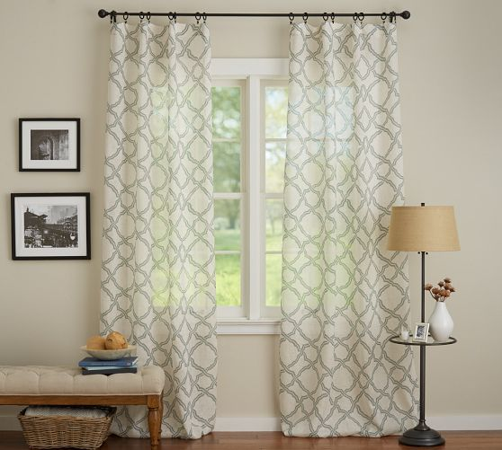 curtain outlet geometric navy blue trellis panel curtains thermalogic bath honeycomb contemporary modern pair white grommet