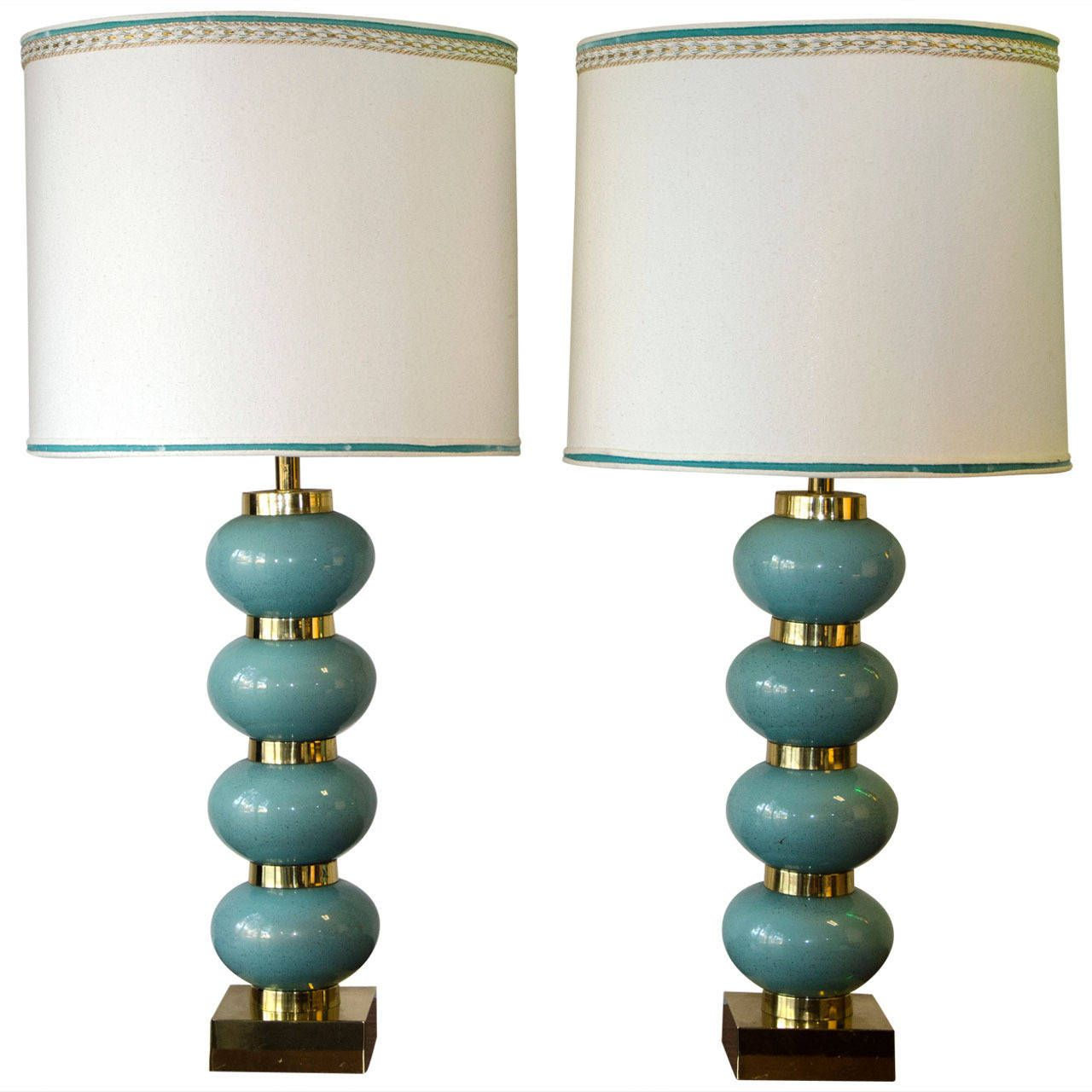 Pair of Mid Century Lamps in Glass, Hollywood Regency | From a unique collection of antique and modern table lamps at https://www.1stdibs.com/furniture/lighting/table-lamps/