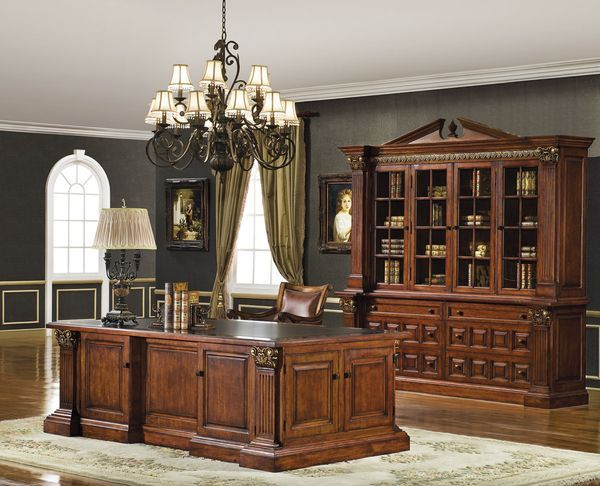Executive Desk Set In Mahogany Cherry Finish 11398 Traditional Home Office Home Office Design Traditional Living Room Furniture
