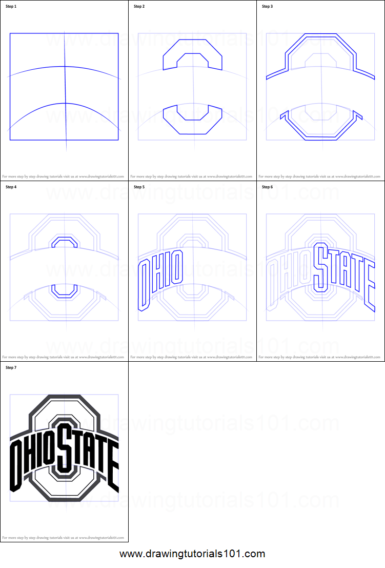 How to Draw Ohio State Buckeyes Logo printable step by step drawing sheet : DrawingTutorials101.com