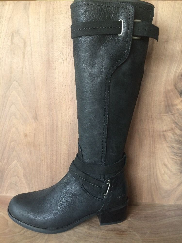 6ebdd254ae8 UGG Australia NIB $299 Darcie Riding Boot Black Knee High Inside Zip ...