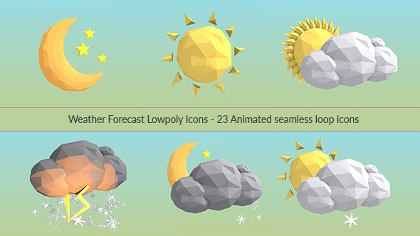 Weather Forecast Lowpoly Icons Weather Icons Weather Forecast Weather