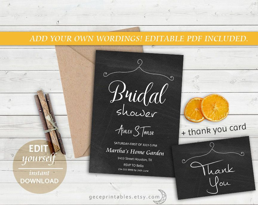 Chalkboard Bridal Shower Invitation Template DIY Chalk board - chalk board invitation template