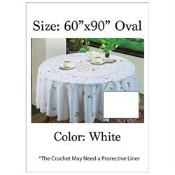 PVC CROCHET Vinyl Tablecloth; Easy To Care For Machine Washable/Dryer Safe