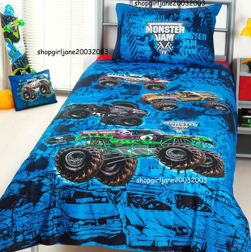 Monster Jam Trucks Mash Grave Digger Double Full Bed Quilt Doona Duvet Cover Set