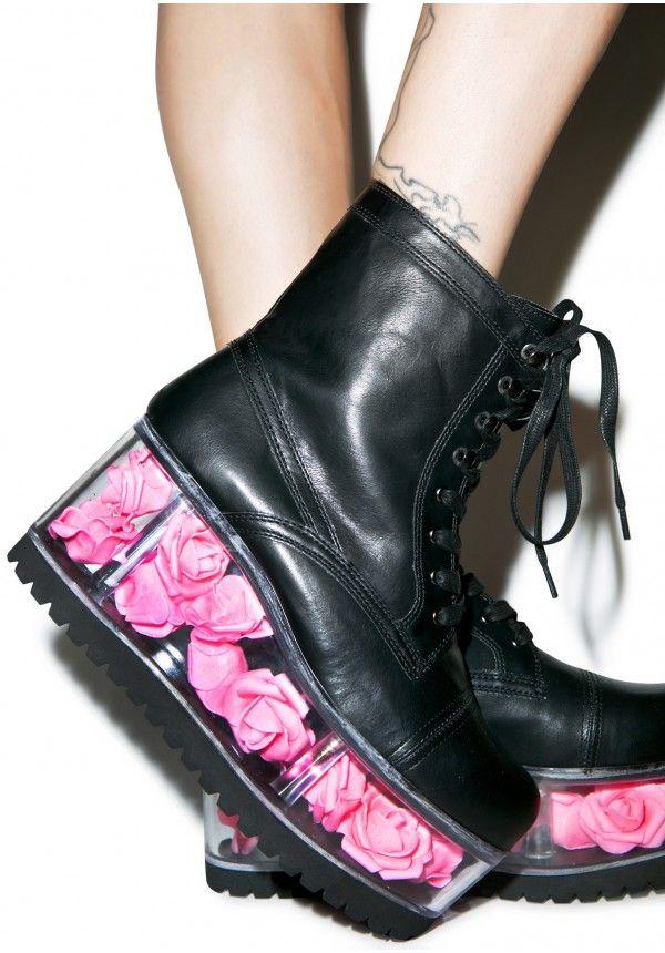 dc7a58d041 Y.R.U. X Dolls Kill G.I. Rose Platform Boots