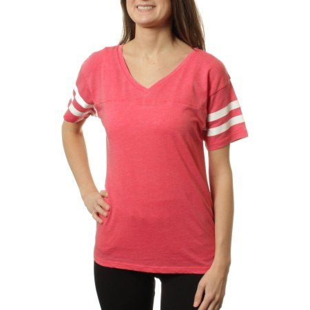 8a116838 Juniors Stripe Sleeve V-Neck Burnwash Football Shirt, Size: Small, Red