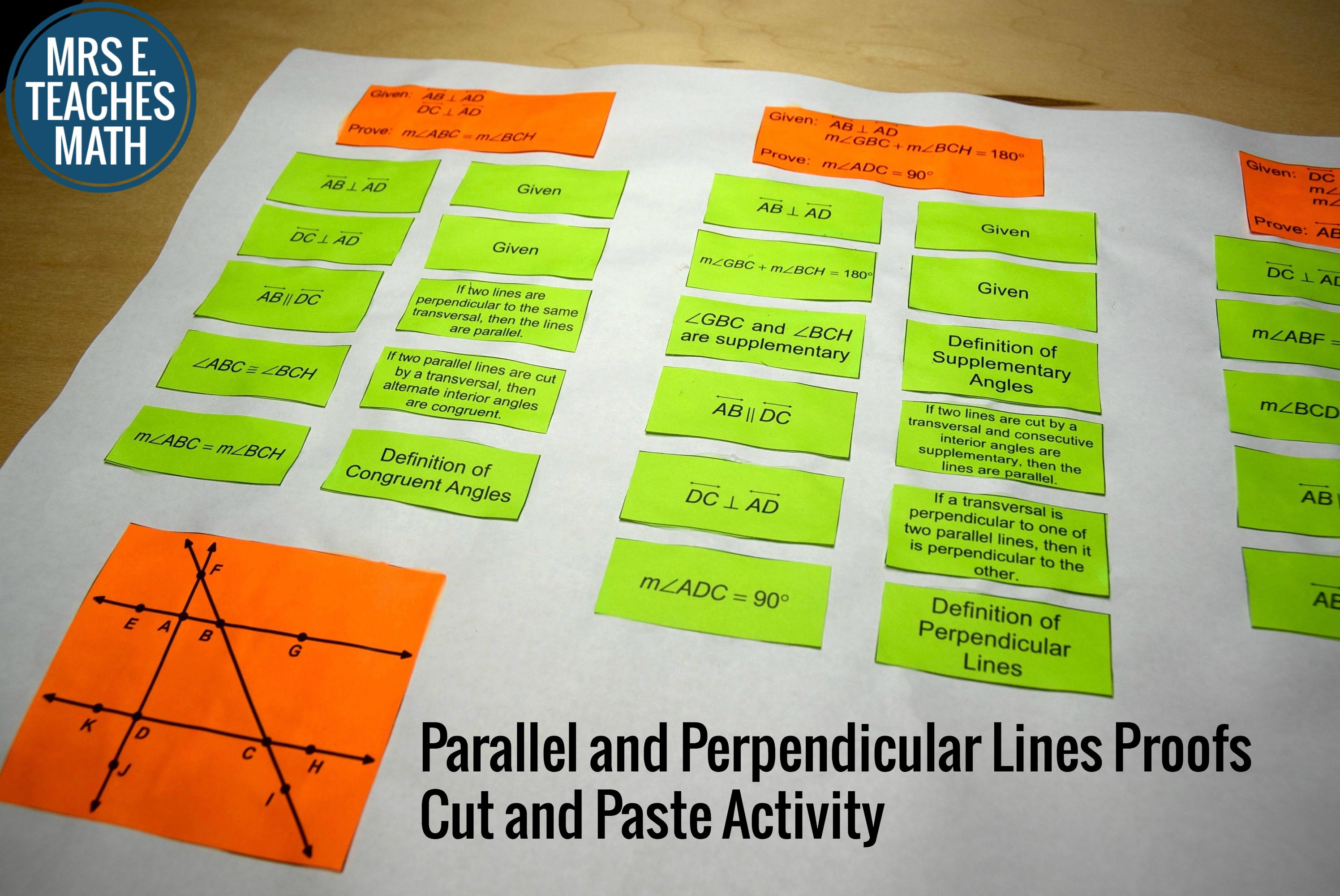 Parallel And Perpendicular Lines Proofs Cut And Paste