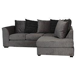 Ontario Fabric Corner Sofa Charcoal Right Hand Facing Corner Sofa Living Room Decor Sofa