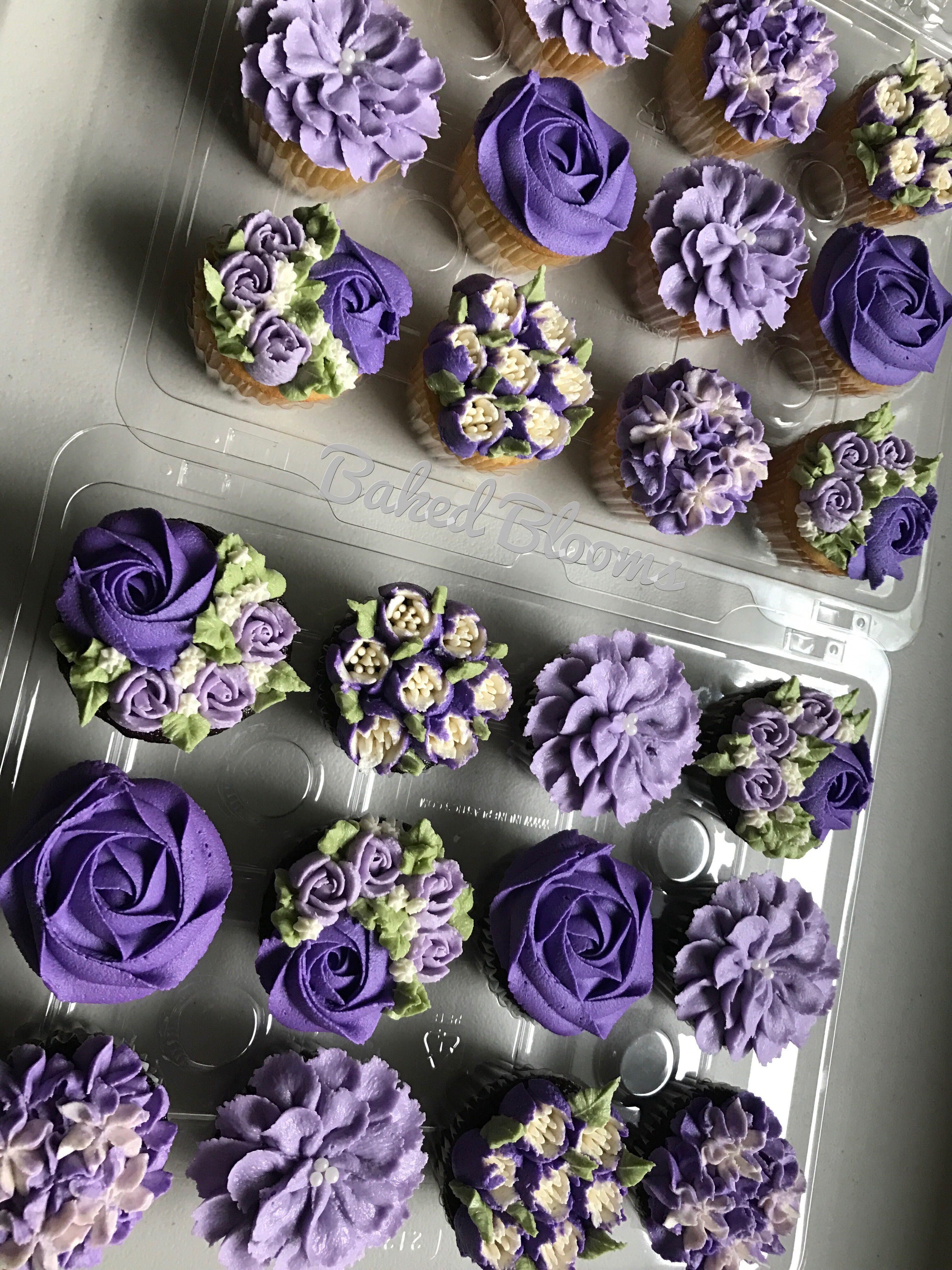 Purple floral wedding cupcakes | Floral cupcakes, Wedding ...